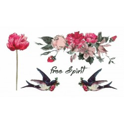 Pink birds & flowers
