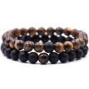Bracelet pierres noires & oeil de tigre