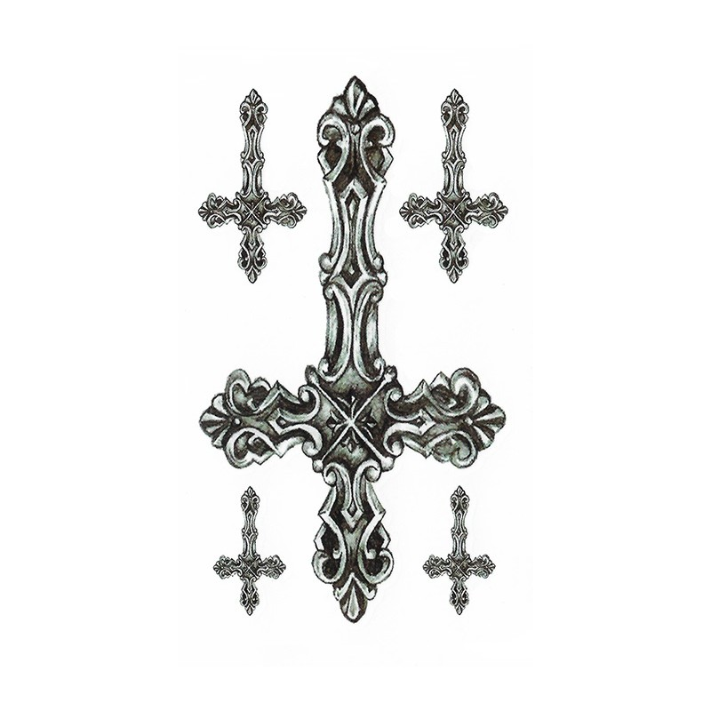 tatouage éphémère croix baroques - be-inked
