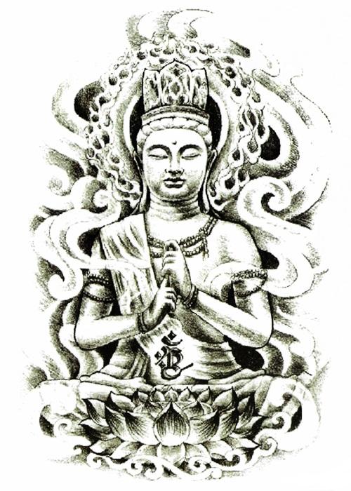 tatouage temporaire bouddha fusain
