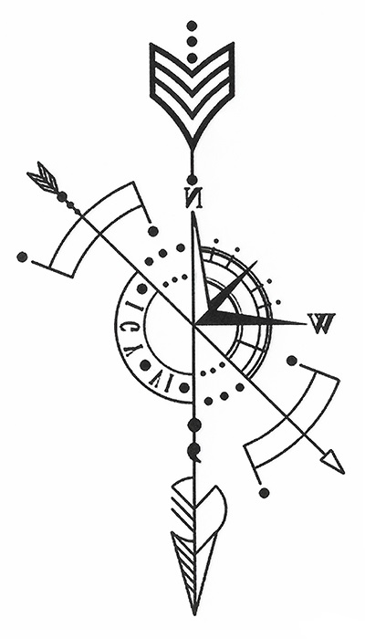 tatouage éphémère boussole