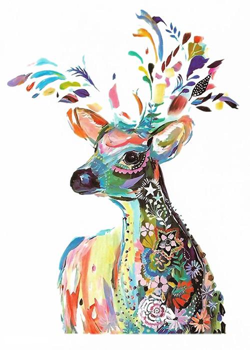 tatouage éphémère cerf coloré