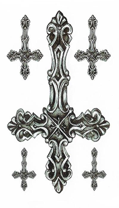 tattoo temporaire croix baroques