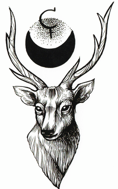 tattoo cerf lune