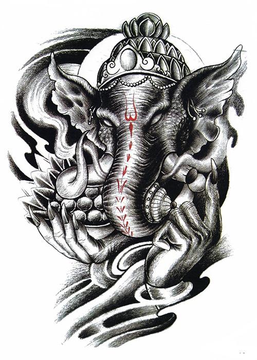 tatouage éphémère elephant man