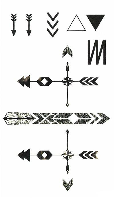 tatouage éphémère flèches graphiques