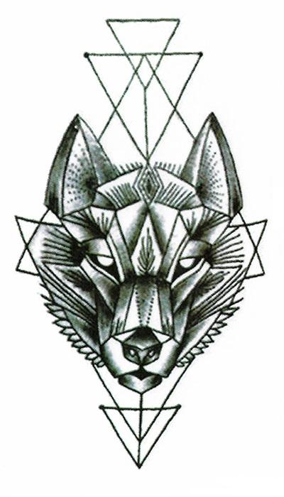 tatouage éphémère loup
