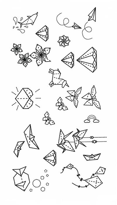 Tatouage temporaire origami