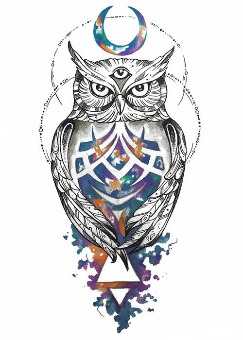 tatouage temporaire hibou coloré