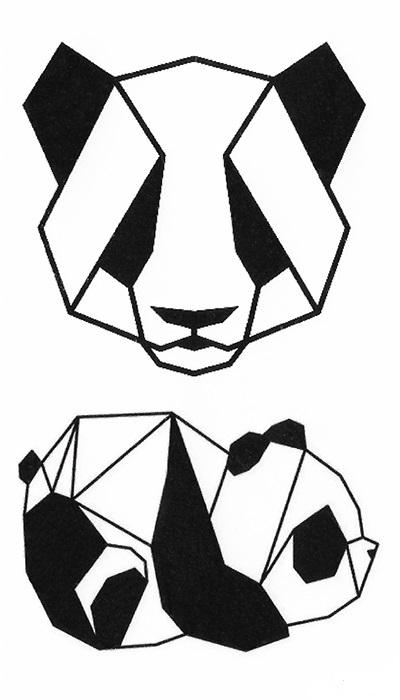 tatouage temporaire panda géométrique