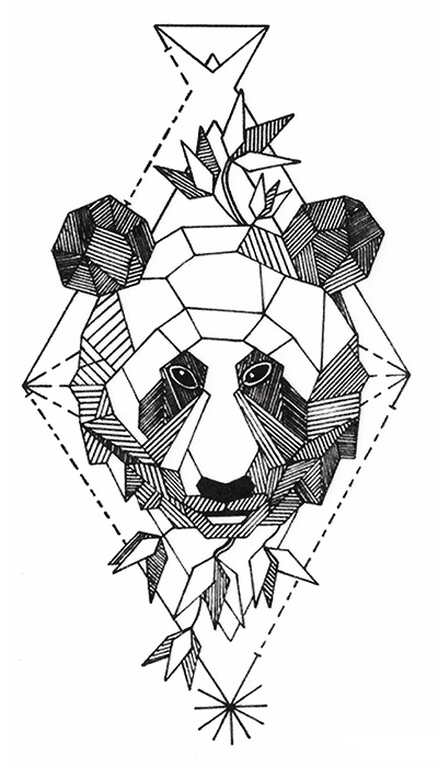 tatouage temporaire panda graphique