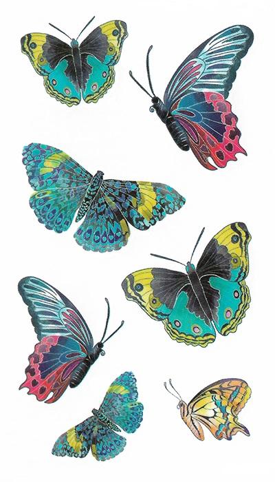 tatouage temporaire papillons couleur