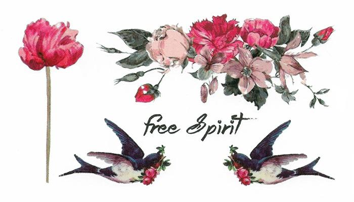 Tattoo temporaire fleurs et oiseaux