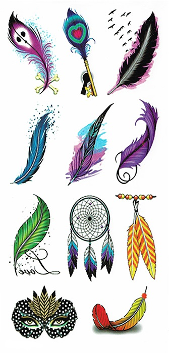 tattoo temporaire plumes couleur