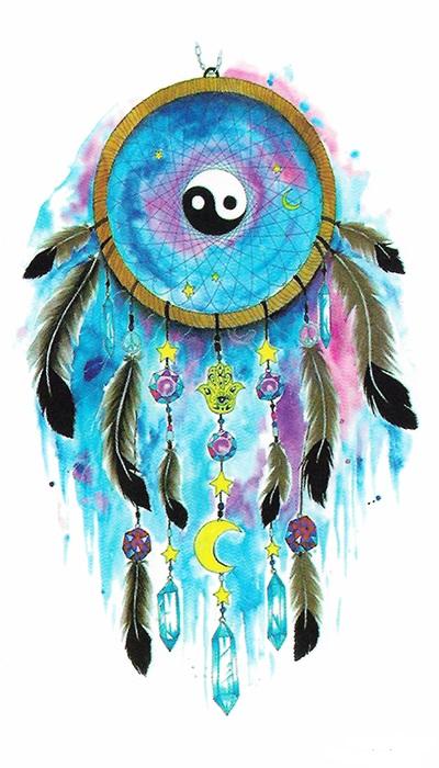 tattoo attrape rêve bleu