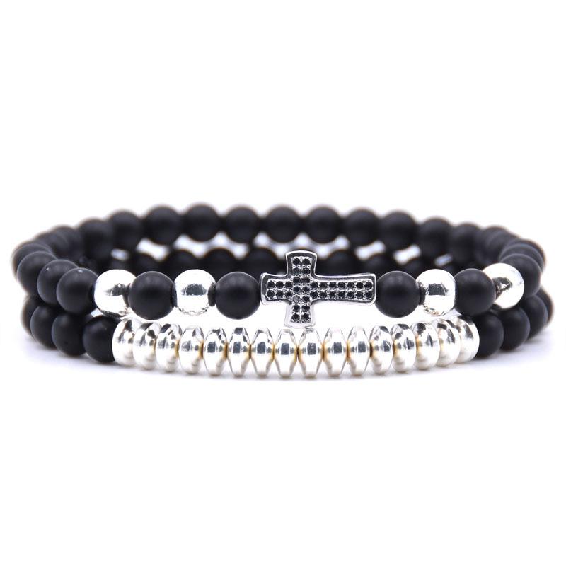 bracelet perles noires croix argent