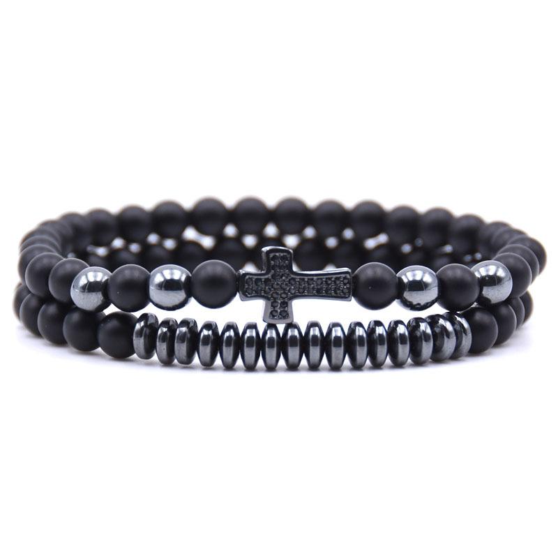 bracelet homme perles noires religieux