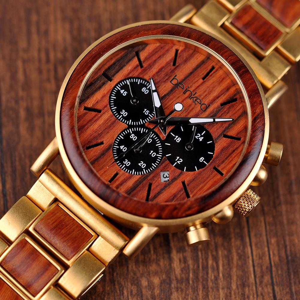Cadran montre or bois
