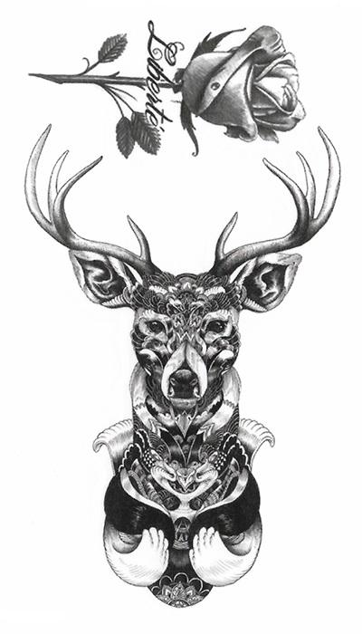 tattoo temporaire cerf et rose