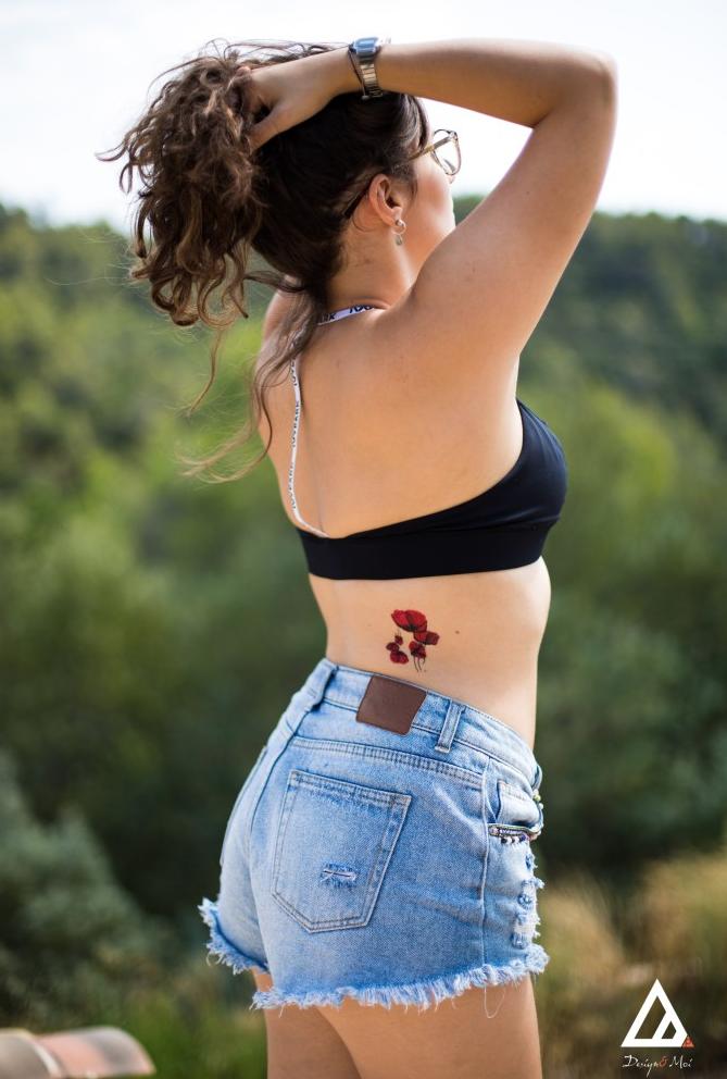 faux tatouage coquelicots