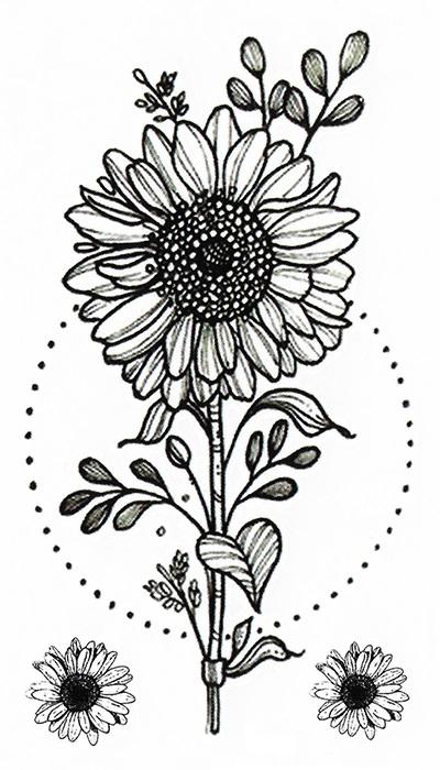 tatouage éphémère tournesol