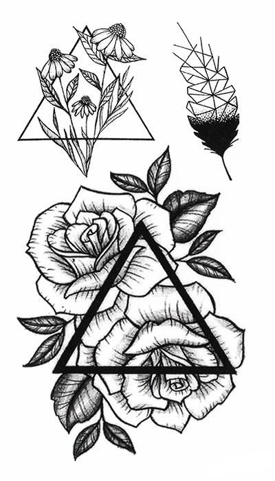 tatouage temporaire roses triangle