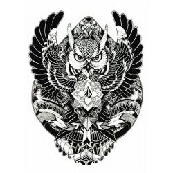 tattoo temporaire hibou maori