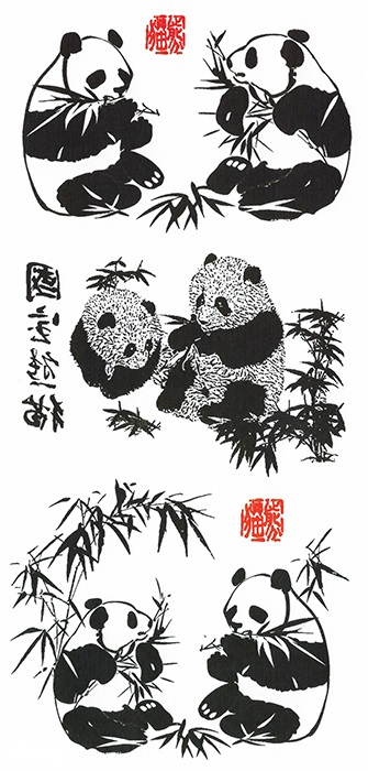 tatouage temporaire panda bambou
