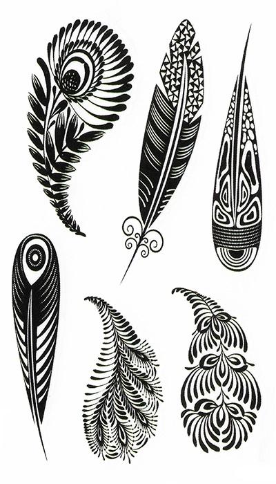 Tatouage temporaire plumes noir et blanc